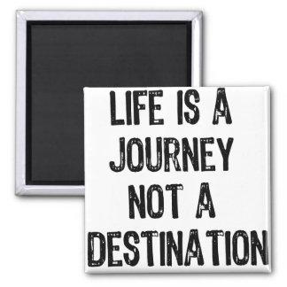 Text- Life is A Journey Not A Destination- Black Square Magnet
