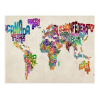 Text Map of the World Postcard