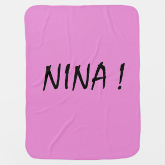 text name Nina pink background and black letters Baby Blanket