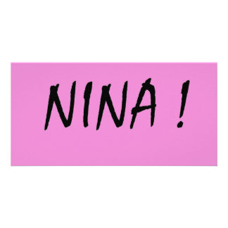 text name Nina pink background and black letters Card