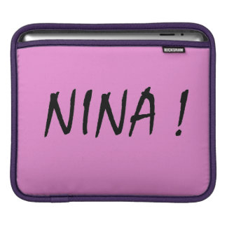 text name Nina pink background and black letters iPad Sleeve