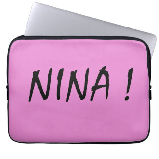 text name Nina pink background and black letters Laptop Sleeve