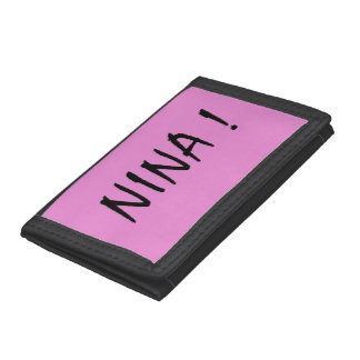 text name Nina pink background and black letters Trifold Wallets