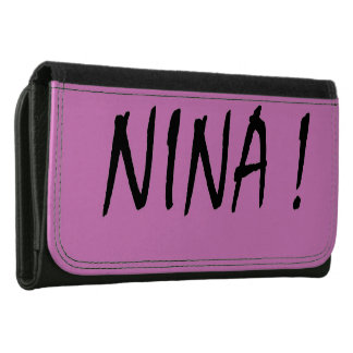 text name Nina pink background and black letters Wallet For Women