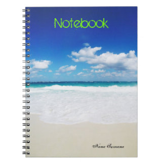 Text Template | Tropical Beach | Personal Name Notebook