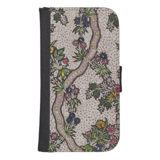 Textile design of plant forms and serpentine ribbo galaxy s4 wallet
