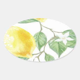 Textile Fabric Leaf Green Yellow Lemon Fruit Oval Sticker