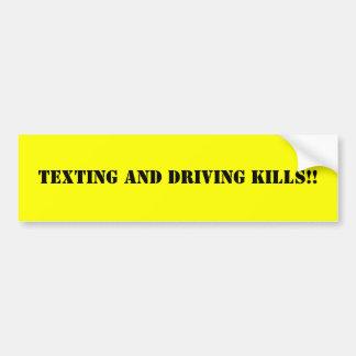 TEXTING AND DRIVING KILLS!! BUMPER STICKER