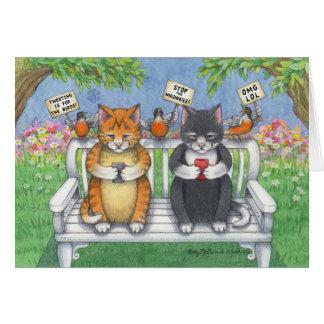 Texting Cats Birthday Bud & Tony Notecard
