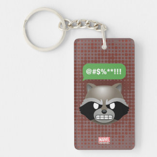 Texting Rocket Emoji Double-Sided Rectangular Acrylic Keychain