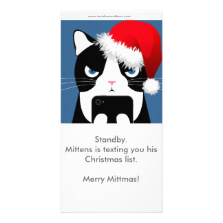 Texts from Mittens Christmas Photocard Customized Photo Card