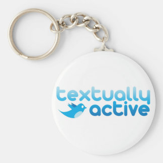 Textually Active on Twitter Texting Trendy Basic Round Button Keychain