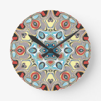 Textural Kaleidoscope Abstract Round Clock