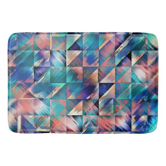 Textural Reflections of Turquoise Bath Mat