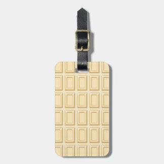 Texture blanche de barre de chocolat étiquettes de bagages