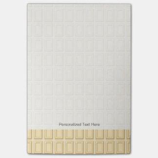 Texture blanche de barre de chocolat notes post-it