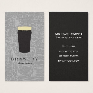 Texture Grey with Beer Glass Business Card