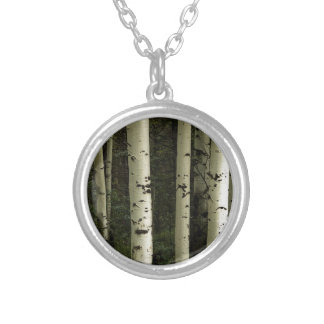 Texture Of A Forest Portrait Silver Plated Necklace