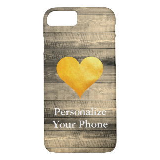 texture pattern Wood sepia with Gold Heart iPhone 8/7 Case