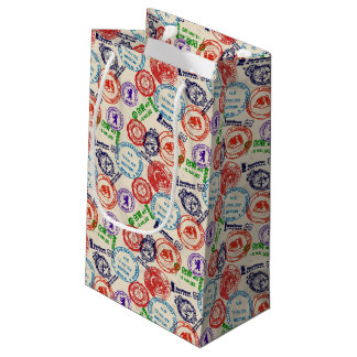 Texture with real stamps. small gift bag