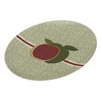 Textured Apples Plate (cranberry/sage)