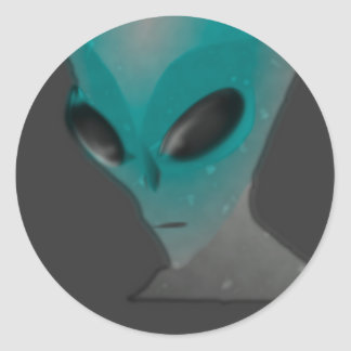 Textured blue grey alien. classic round sticker