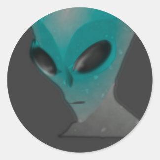 Textured blue grey alien. round sticker