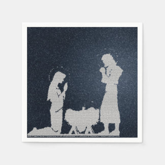 Textured Blue Nativity Disposable Napkins