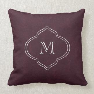 Textured Burgundy Monogram Throw Pillow