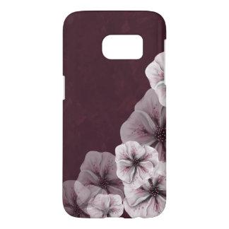 Textured Burgundy with Flowers Samsung Galaxy S7 Case