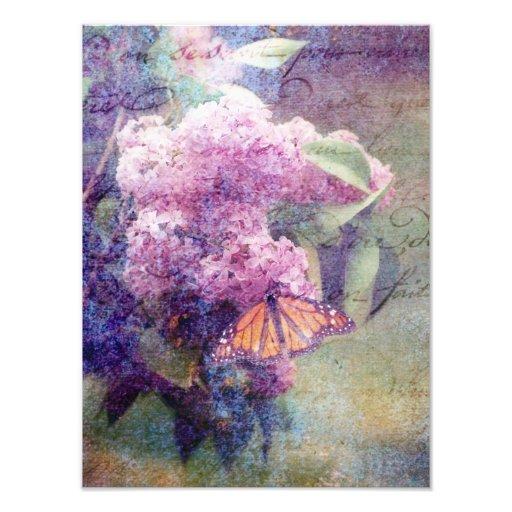 Textured Butterflies and Lilacs Photo Art