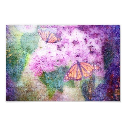 Textured Butterflies and Lilacs Art Photo