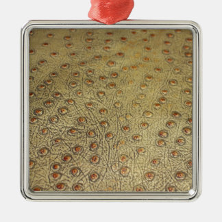 TEXTURED FAUX OSTRICH LEATHER Silver-Colored SQUARE ORNAMENT