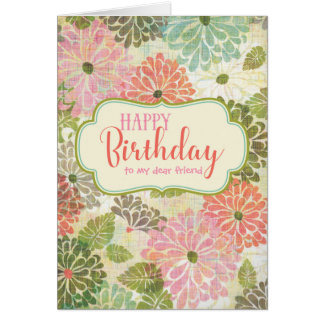 Textured Floral Happy Birthday Card for Her