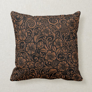 Textured Floral Pattern Dark Rust Throw Pillow