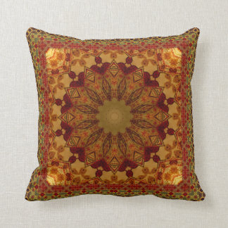 Textured Framed Rust And Gold Mandala Throw Pillow