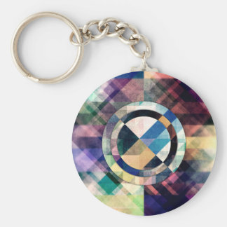 Textured Geometric Shapes Basic Round Button Keychain