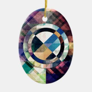 Textured Geometric Shapes Ceramic Oval Ornament