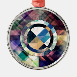 Textured Geometric Shapes Silver-Colored Round Ornament