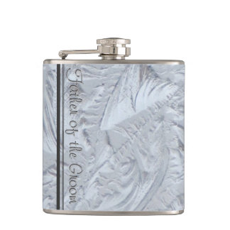 Textured Glass FATHER OF THE GROOM Flasks