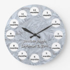 Textured Glass Photo 12 Month Baby Large Clock