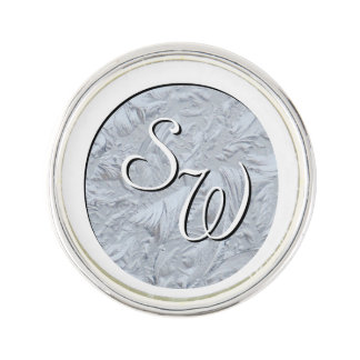 Textured Glass White Monogrammed Lapel Pin