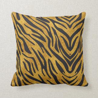 Textured Gold With Black Zebra Pattern Throw Pillow