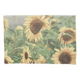 Textured Grunge Field Of Giant Yellow Sunflowers Pillowcase