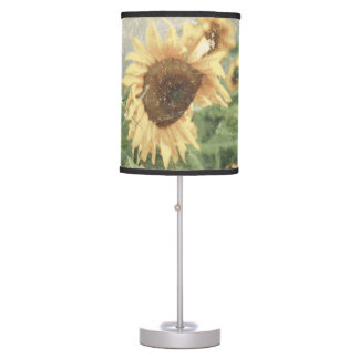 Textured Grunge Field Of Giant Yellow Sunflowers Table Lamp