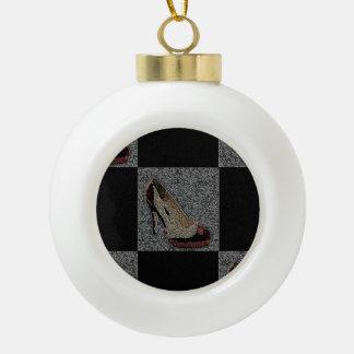 Textured High Heels Ceramic Ball Christmas Ornament