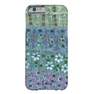 Textured knit sequined flowers beaded blue/green barely there iPhone 6 case