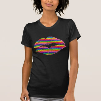 """Textured-Look Rainbow Lips"" T-Shirt"