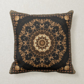 Textured Mandala Flower Throw Pillow
