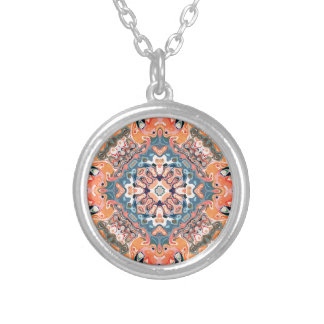 Textured Mandala Pattern Silver Plated Necklace